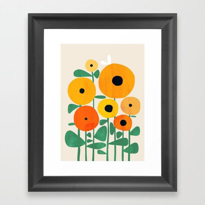Sunflower and Bee Gerahmter Kunstdruck