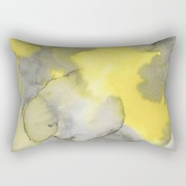 Hand painted gray yellow abstract watercolor pattern Rectangular Pillow