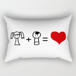 Cute boy and girl love doodle Rectangular Pillow