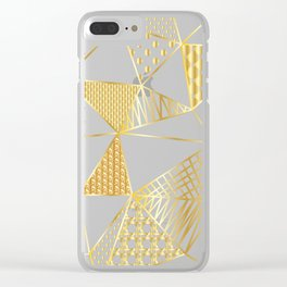 gold geometric with pattern Clear iPhone Case