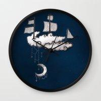 ship Wall Clocks featuring SHIP by Jumanaah Hiasat