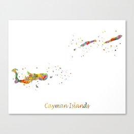 Cayman Islands Map Canvas Print
