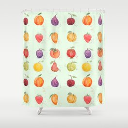 fruit collection watercolor Shower Curtain