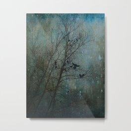 Blackbird Convention on a Snowy Day Metal Print
