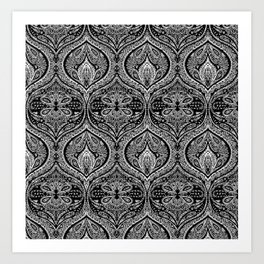 Simple Ogee Black & White Art Print