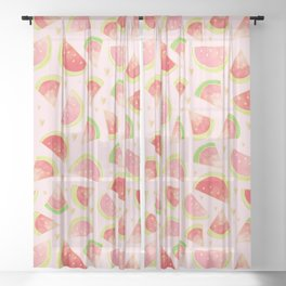 Watermelon Slices & Gold Hearts Sheer Curtain