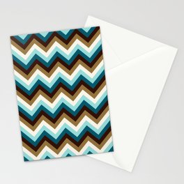 Funky Zigzag Pattern Teals Brown Gold Cream Stationery Cards