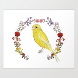 Canary in Floral Wreath Art Print