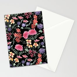 Bright flowers on a black background. Stationery Cards