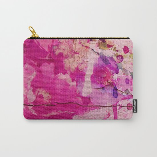 pink floral on crumbling wall Carry-All Pouch