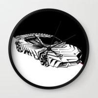 lamborghini Wall Clocks featuring ///Lamborghini NuReventón XREEM\\\ by NurRahman