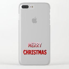 Merry Christmas Message in Red Chrome Clear iPhone Case
