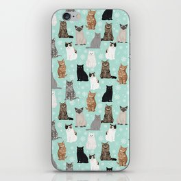 Cat snowflakes catsmas winter holiday pattern print pet portraits cat breed gifts iPhone Skin