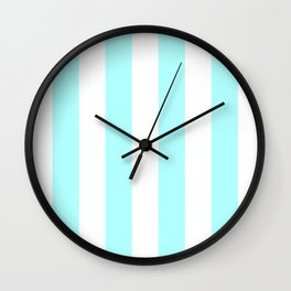 Vertical Stripes - White and Celeste Cyan Wall Clock