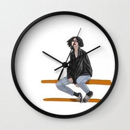 Girl in a mood Wall Clock