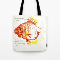 goldfish Tote Bags featuring goldfish by withapencilinhand