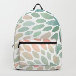 Floral Bloom, Abstract Watercolor, Coral, Peach, Green, Floral Prints Backpack