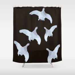 White Willow grouse Birds On A Black Background #decor #buyart #society6 Shower Curtain