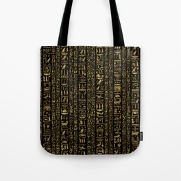 Egyptian hieroglyphs vintage gold on black Tote Bag