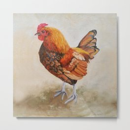 Chicken - Cockerel painting Metal Print