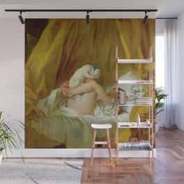 "Jean-Honoré Fragonard ""Girl with a dog (Jeune fille dans son lit, faisant danser son chien)"" Wall Mural"