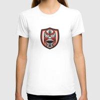 maori T-shirts featuring Maori Mask Shield Retro by patrimonio