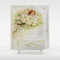 wedding Shower Curtains featuring Wedding Bells by Lucia