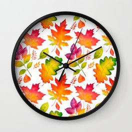 Fall Leaves Watercolor - White Wall Clock