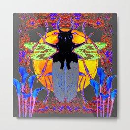 MYSTIC BLACK  BEETLE BLUE CALLA LILIES MOON ART Metal Print