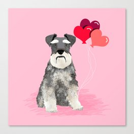 Schnauzer love balloons valentines day schnauzers must have pure breed gifts Canvas Print