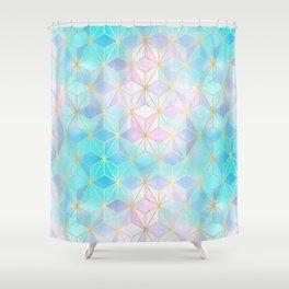 Iridescent Glass Geometric Pattern Shower Curtain
