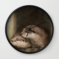 otters Wall Clocks featuring The curious otters by Pauline Fowler ( Polly470 )