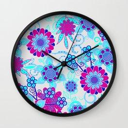 Happy Hippy Flower Power Wall Clock
