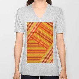 Orange - yellow stripes Unisex V-Neck