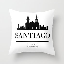 SANTIAGO DE CHILE BLACK SILHOUETTE SKYLINE ART Throw Pillow