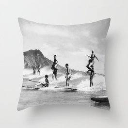 Vintage Hawaii Tandem Surfing Throw Pillow