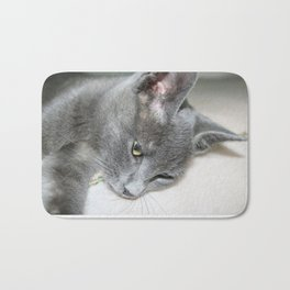 Close Up Of A Grey Kitten Bath Mat