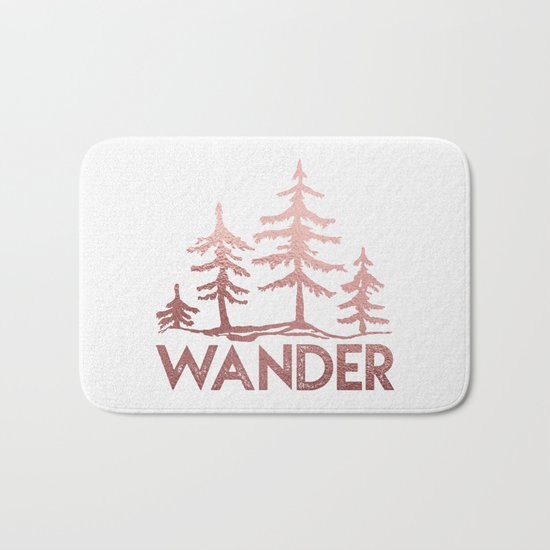 WANDER Adventure Forest Rose Gold Pink Bath Mat