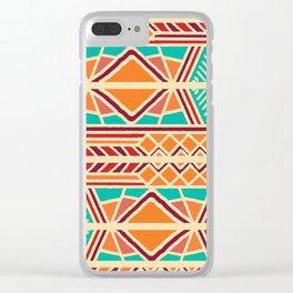 Tribal ethnic geometric pattern 027 Clear iPhone Case