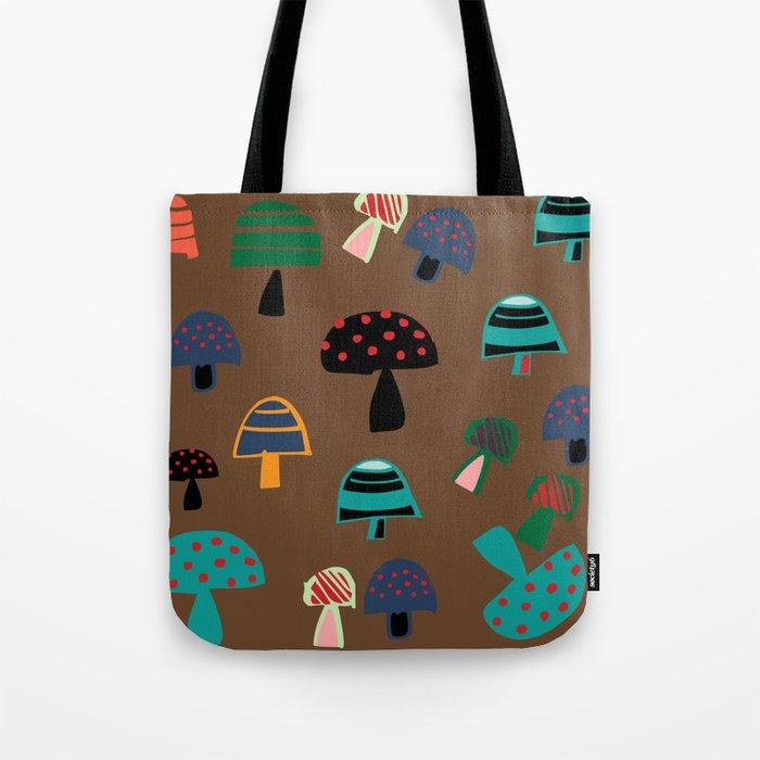 Cute Mushroom Brown Tote Bag