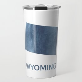 Wyoming map outline Dark blue clouded watercolor Travel Mug