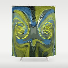 Abstract Owl Portrait Shower Curtain