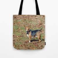 beagle Tote Bags featuring Beagle by Frankie Cat