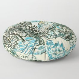 OLD VINEYARD WITH A PEASANT WOMAN - VINCENT VAN GOGH Floor Pillow