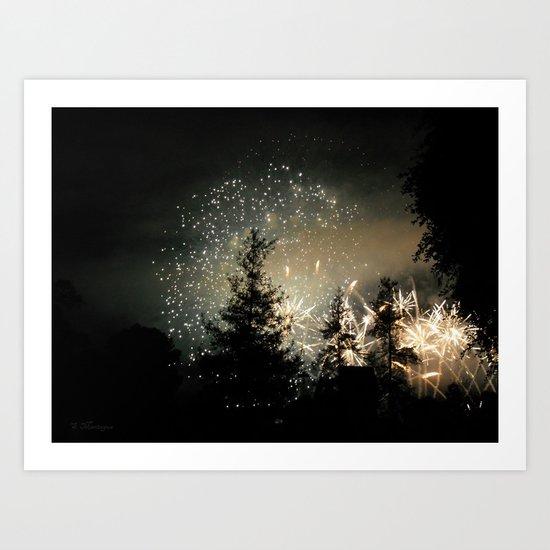 Forest Fireworks. © S. Montague. Art Print