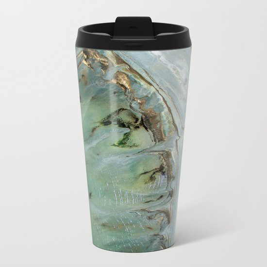 Marble teal & gold ocean Metal Travel Mug