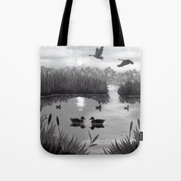 The Pond Black and White Tote Bag