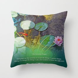 Serenity Prayer Koi Pond Lotus Throw Pillow
