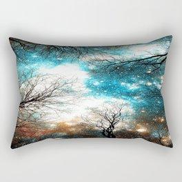 Black Trees Turquoise Brown Space Rectangular Pillow