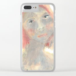 A painted portrait of a thoughtful green girl Clear iPhone Case